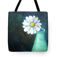 OOPSY DAISY Tote Bag for sale by T Fry-Green. $24.00 The tote bag is machine washable, available in three different sizes, and includes a black strap for easy carrying on your shoulder.  All totes are available for worldwide shipping and include a money-back guarantee. #oopsydaisy #daisy #spring #flower #vase #fashionbag #tfrygreenart #tfrygreen #homeatlaststudio #art #original #tote #toteart #fineartamerica