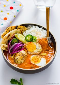 Egg Curry Tikka Masala Sauce Naan and Rice for Indian egg curry dinner
