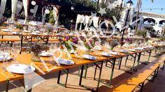 Alquiler de mesas y bancos plegables para eventos y catering de Alpinholz