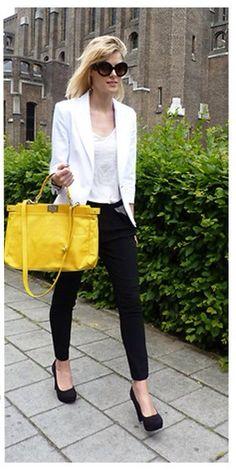 Blazer branco, look, yellow bag