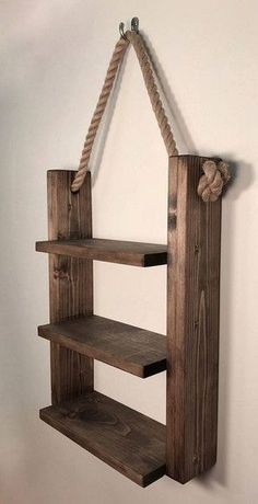 Rustic ladder shelf Rustic wood and rope ladder shelf .- Rustikales Leiter-Regal Rustikales Holz- und Strickleiter-Regal # Leiter … Rustic Ladder Shelf Rustic Wood and Rope Ladder Shelf # Ladder # - Woodworking Furniture, Woodworking Shop, Diy Furniture, Woodworking Quotes, Woodworking Clamps, Rustic Furniture, Popular Woodworking, Woodworking Techniques, Furniture Plans