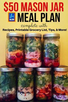 WOW! 19 Mason Jar Salads for less than $50. Printable grocery list, too!