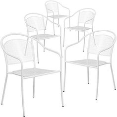 Flash Furniture 5 Pk. White Indoor-Outdoor Steel Patio Arm Chair with Round Back
