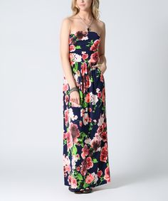 Look what I found on #zulily! Navy Floral Strapless Maxi Dress by Lydiane #zulilyfinds