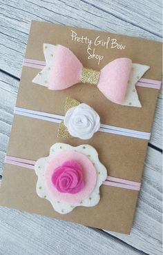 Set of 3 pink gold and white felt baby by PrettyGirlBowShop