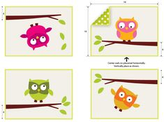 ScrapBusters: Playful Appliquéd Owls Placemat Set