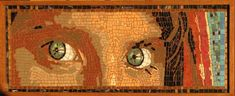Afgan Girl mixed-media mosaic portrait by Frederic Lecut of MosaicBlues.com.