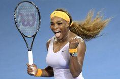 Serena Williams expressing her joy while playing tennis...