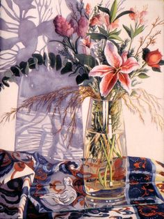 Glass Bird with Flowers.  Dodi Sikevitz Watercolor