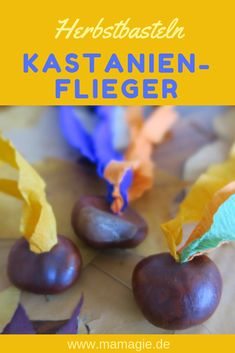 DIY Tuesday: chestnut flyer- DIY Dienstag: Kastanienflieger Making chestnuts with children: These chestnuts are also a lot of fun for boys - Crafts For Teens To Make, Diy For Teens, Diy For Kids, Fall Crafts, Halloween Crafts, Diy And Crafts, Kids Crafts, Diy Wood Projects, Wood Crafts