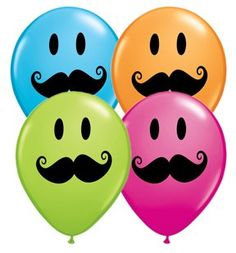 "Amazon.com: Smile Face Mustache 11"" Latex Assortment - 50 Count: Balloons - Party Decorations"