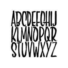 Square brush script alphabet print