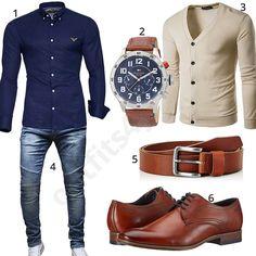 Business-Look mit Hemd und Strickjacke (m0487) #outfit #style #fashion #menswear #mensfashion #inspiration #shirt #cloth #clothing #männermode #herrenmode #shirt #mode #styling #sneaker #menstyle