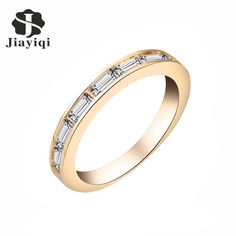 Jiayiqi(jiayiqi) Fashion Authentic Women Rings Cubic Zircon Finger Rings for Women Trendy Party Jewelry Crystal Embroidery #Affiliate