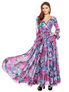Tropical Print Wrap Long Sleeve Maxi Dress | Persunmall