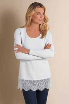 Madame Lace Tee from Soft Surroundings.  Would be wonderful in color
