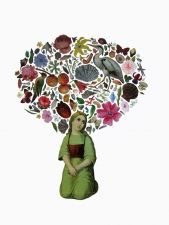"ADRIENNE SLANE ~ Sophia in the Garden, collage on paper 19""x25"""