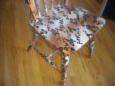 hand painted cheetah chair semigloss finish by 216diamond on Etsy, $75.00