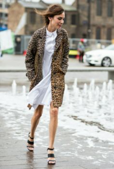 Alexa Chung in leopard coat and a cotton dress with peter pan collar