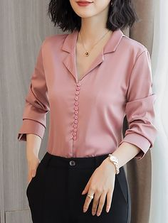 Long sleeve work solid buttoned shift chiffon blouse fashion in 2019 blusas, Kurti Neck Designs, Dress Neck Designs, Blouse Designs, How To Wear Cardigan, How To Wear Blazers, Sleeves Designs For Dresses, Casual Outfits, Fashion Outfits, Women's Fashion