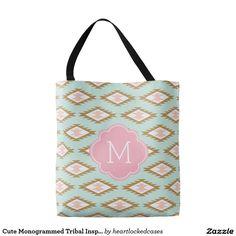 Cute Monogrammed Tribal Inspired Pattern Tote Bag