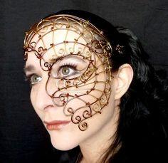 Womens bronze and brass wire steampunk half mask,Costume, accessories, handmade