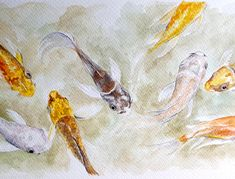 My first international sale back in Koi Watercolor, Art, Watercolor, Painting