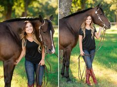 """Deanna Green – Class of 2017 – and her AQHA mare Mama Knows Best (""""Myrtle""""), palomino mare Blazinmytroublesaway (""""Buttercup""""), and cutting gelding Smart Gypsy Merada (""""Felix"""") at Rusty Green Show Horses in Pilot Point, Texas. Deanna shows under the guida Horse Senior Pictures, Pictures With Horses, Beautiful Horse Pictures, Country Senior Pictures, Horse Photos, Beautiful Horses, Horse Girl Photography, Photography Senior Pictures, Equine Photography"""