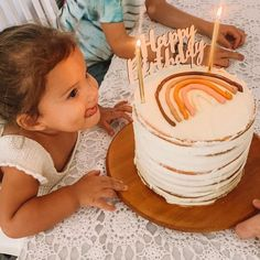 Rainbow First Birthday, Baby Girl Birthday, First Birthday Parties, Birthday Party Themes, First Birthdays, Birthday Cake, Birthday Ideas, Rainbow Theme, Cute Cakes