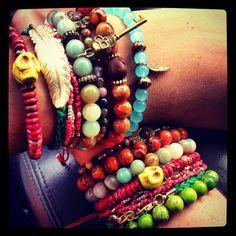 layered boho bead bracelets