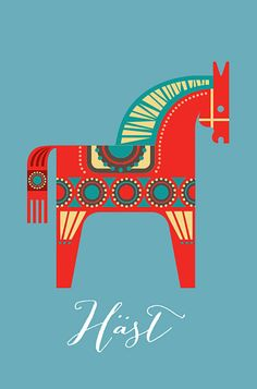 Dala horse print Swedish Dala horse poster Mid by visualphilosophy