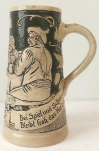 """Vintage Germany Beer Stein Mug """"Bei Spielund Scherz Bleibt froh das Herz""""    eBay"""