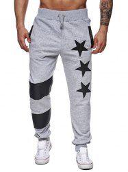 Star Printed Spliced Drawstring Waist Jogger Pants - LIGHT GRAY Sudaderas e5318a7aeb6b4