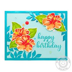 Sunny Studio Stamps: Hawaiian Hibiscus Botanical Backdrop Everyday Greetings Floral Cards by Vanessa Menhorn and Anja Bytyqi Backdrop Frame, Backdrops, Birthday Sentiments, Birthday Cards, Hibiscus Flowers, Lilies Flowers, Hawaiian Flowers, Cactus Flower, Flowers Garden