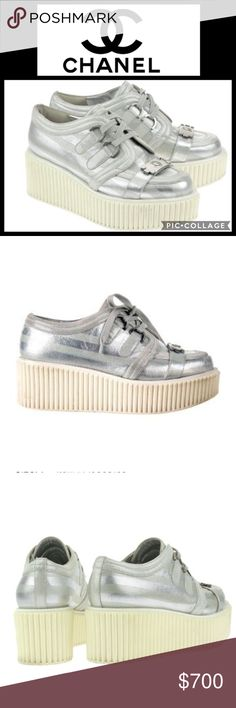 """🔥HOST PICK!🔥Metallic Silver Lame Boy Creepers ❤❤❤these shoes and soo wish they were my size!! But, lucky for you they're not!! 💯 percent authentic Metallic Silver Lame Boy Creepers from Chanel's 2013 Resort Collection--wear them with jeans, ath-leisure wear, a mini. They'll go with anything and look chic and expensive doing it!! Silver metallic lame, silver hardware, lace up fronts, cap toe with mock boy push lock closure. Size 36/6. Some wear on corner of 2.5"""" heel. Otherwise EUC…"""