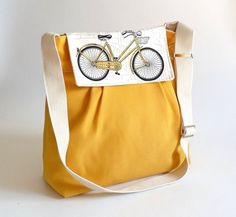 LA POMME // Bicycle Flap Large Dark Yellow French with Water-resistant tent canvas lining / 8 pockets by ikabags