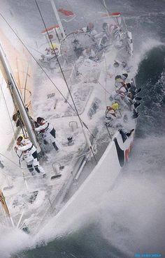 Heavy water sailing.