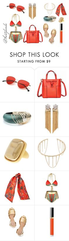 """""""7-8-17 OOTD"""" by stylemile ❤ liked on Polyvore featuring Tory Burch, Alexis Bittar, Venna, Kenneth Jay Lane, Jules Smith, Etro and Chanel"""