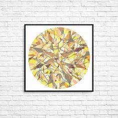 Diamond Jewel Circle Round Print Gem Gemstone Rich Fancy Poster Geometric art Wall art Room decor Modern art Golden foil Yellow Gift for her Modern Decor, Modern Art, Colorful Paintings, Geometric Art, Female Art, Line Art, Room Decor, Fancy, Jewels