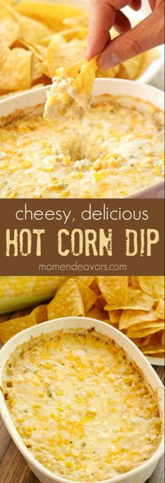 Cheesy Hot Corn Dip Recipe Ingredients approx 3 cups corn kernels cans of corn, drained) 1 small can green chiles ¼ cup diced sweet onion ½ tsp garlic powder 4 oz cream cheese, softened ½ cup sour Corn Dip Recipes, Mexican Food Recipes, Finger Food Recipes, Velveeta Recipes, Pepperoni Recipes, Party Dip Recipes, Jalapeno Recipes, Chilli Recipes, Onion Recipes