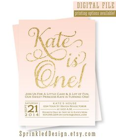 Sparkle And Shine Its Birthday Time Invitation Pink Gold - First birthday invitations girl pink and gold