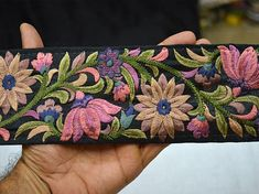 Pink Sewing Indian Fabric Trim Crafting Sari Border Trim By The Yard Decorative Embroidered Saree Trim Costume Trimmings, Fashion tape Hand Work Embroidery, Embroidery Designs, Border Embroidery, Black Fabric, Silk Fabric, Floral Ribbon, Fashion Tape, Indian Fabric, Sewing Accessories