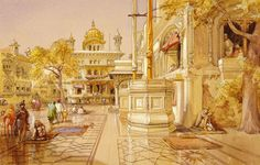 Akal Boonga at the Golden Temple at Amritsar, by William Simpson (1823-99). Pencil, watercolour and tinted paper. Punjab, India, c.1864.