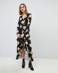 ASOS | ASOS - Robe longue portefeuille avec imprimé grosses fleurs
