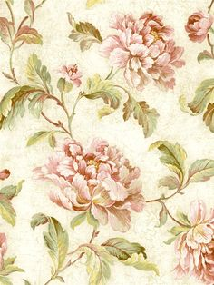 This quaint rose wallpaper will add a vintage charm to any home. From the book Vintage Home  AmericanBlinds.com