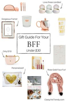Gift Guide For Your BFF Under $30 - When it comes to buying for your best friend, sometimes it's hard to pick out just the right gift. I've found several gift ideas that would be perfect for her! Buy just one and she'll love it, or buy 2 or 3 on this list for a gorgeous gift basket she'll adore! For Christmas and the holiday.
