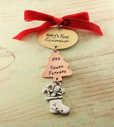 Baby's First Christmas hand stamped ornament by woobiebeans, $30.00