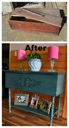 Cedar chest turned table!  Great idea with lots of storage space.