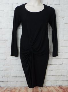 Womens ISDA & CO Black Knit Scoop Neck Ruched Skirt Knee Length  Dress SZ…