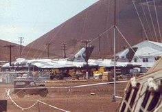 The two Vulcans of Black Buck 1 at Ascension, XM607 is nearer the camera